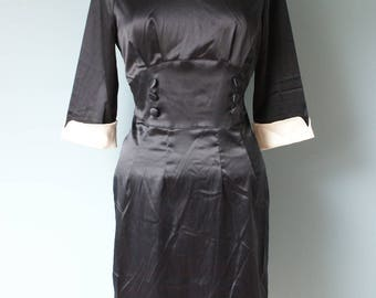 Pinup Rockabilly Black satin dress