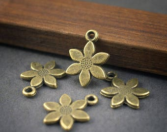 flowers, nature, Bohemian, bronze metal charms * 4 * 16mm x 12mm