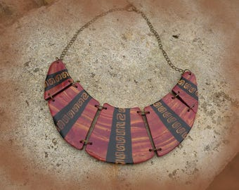 Ethnic necklace copper and gold.