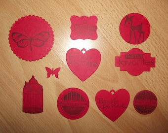 Set of 10 Red cuts for scrapbooking.