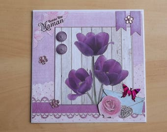 "White 3D ""Happy mother's day"" card, handmade."