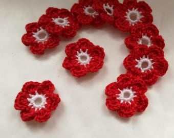 Applique crochet cotton flowers in white and Red