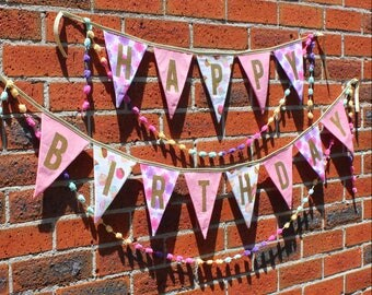 Happy Birthday Fabric Bunting Banner Pink Gold