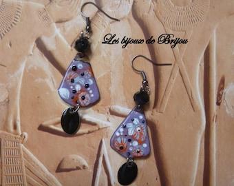 Enameled metal and purple, black, red, white rustic glass bead earrings