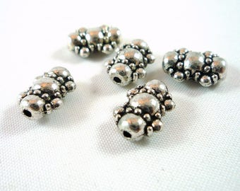 10 beads Tibetan style silver plated nickel (pm20)