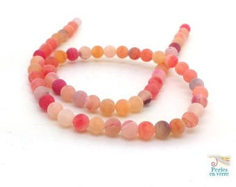 62 agate beads frosted orange 6mm, frosted Crackle effect (pg198)