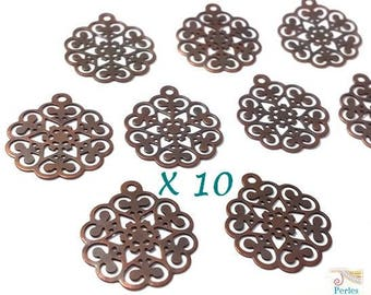 10 charms pinwheel filigree brass nickel color cuivre15x17mm (bre411)