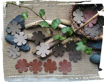 4 flowers leather 4.5 cm, chestnut brown, Taupe or Beige, creating jewelry, fashion accessory hair, bag, scrapbooking, crafting.