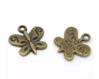 5 charm Butterfly Bronze 13 x 13 mm
