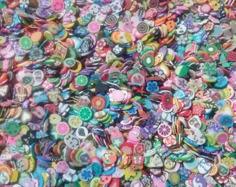 Lot of 300 coins cane fimo nail art/deco nails/scrapbooking