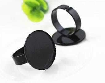 20 mm/1 ring 20 mm black cabochon
