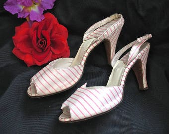 8 8.5 White Pink Stripe 50s Leather Heels Pumps Sling Backs Bern Bros Candy Cane Pin Up Rockabilly Girl