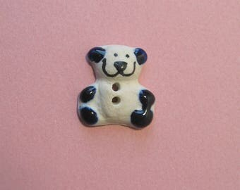 Ceramic button, 24 x 22 mm, bear, 2 holes.