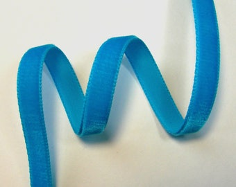 Velvet, 10 mm, turquoise Ribbon, sold by the yard.