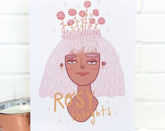 Rosy Thoughts Digital Illustration A4 Print