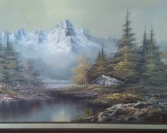 K. Smith original mountain cabin oil painting