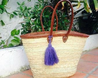 GABRIELLA- Leather Boho Ibiza Straw Basket - Moroccan Market Shopping Beach Bag- WOOL Tassel- Bohemian Hippie Style - Customise Me!