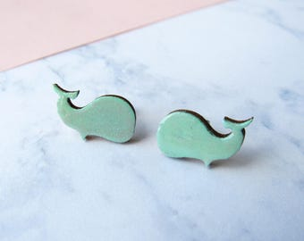Mint and glitter wooden whale earrings
