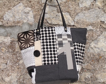patchwork Tote Bag / Black / Black and white/lace fabrics