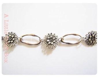 Flower - antique silver chain 50cm