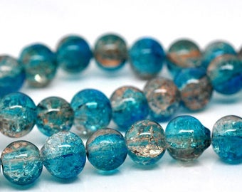 Blue and Brown effect round glass beads Crackle - 8 mm -