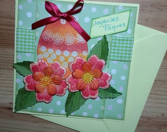 Cheerful and colorful, green and Red Easter card