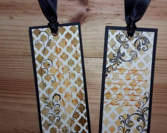 Set of two bookmarks shabby chic, original design with inks (1)