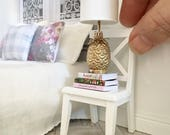 Miniature white cross back chair - Dollhouse - Roombox - Diorama - 1:12 scale