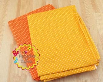 2 x cut fabric 150x50cm pea patchwork cotton 100% orange red and orange