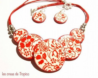 Set necklace and earrings red screen printed on polymer (fimo, premo, cernit)