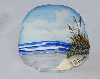 Beach Scene Painted Sand Dollar, Original Oil Painting on Sand Dollar, Painted Sand Dollar, Beach Scene. Original Oil Painting