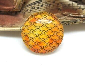 1 cabochon 25 mm glass gold decorated - 25 mm