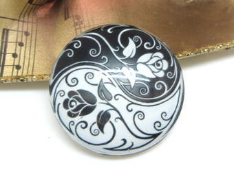 2 cabochons 14 mm glass Yin Yang Roses white and black 1-14 mm