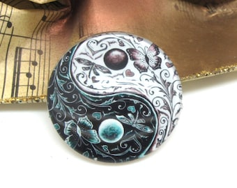 1 cabochon 30 mm glass Yin Yang white and Black 2-30 mm
