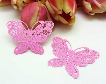 1 large filigreed 50 mm pink - butterfly print 50 * 38 mm