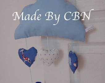 Musical mobile cloud hanging hearts print & sky blue cotton