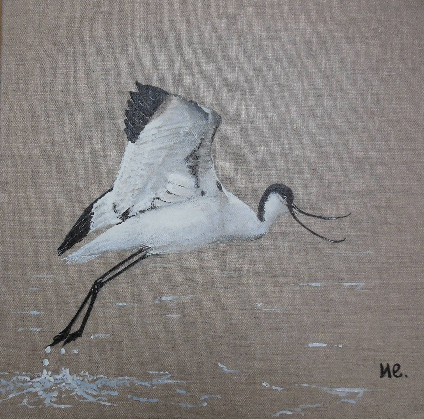 Tableau oiseau avocette for Peinture lin naturel