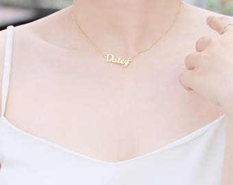 Name Necklace - Choker Necklace - Choker Name Necklace - Bridesmaid Jewelry - Mother Gift - Personalized Jewelry  - NG01