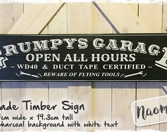 Grumpys Garage Timber Sign  - Charcoal Handmade Recycled Timber - Fathers Day Gift