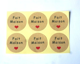 100 labels HOMEMADE STICKERs stickers, KRAFT and heart 35 mm cupcake supplies chicdepanne gift wrapping packaging