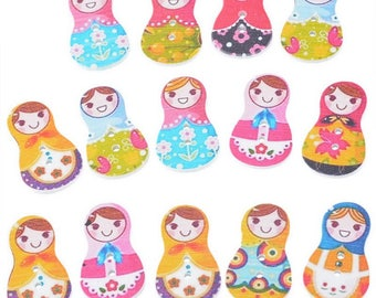 Wooden doll Russian coin Creation 30x17.5mm 5 mixed buttons