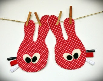Set of two cuddly soft identical twins cotton polka dot background Red
