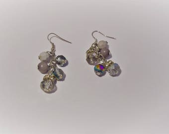 Lovely pair of transparent beads and silver cluster earrings