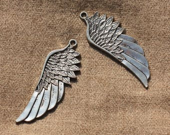 2PC - charms silver plated Rhodium 5.8 cm 4558550006806 wings