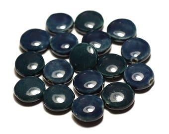 4pc - beads ceramic porcelain beads 16mm blue green Peacock duck oil - 8741140017672