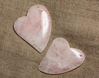 1pc - semi precious stone pendant - Rose Quartz heart D13 4558550008527 53mm