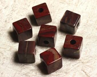 1pc - semi precious - brecciated red Jasper stone pendant Cube 4558550013668 15 mm