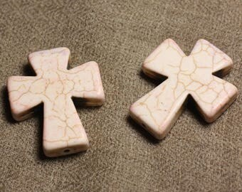 2PC - Turquoise cross 35x30mm 4558550011770 cream white synthetic pearls