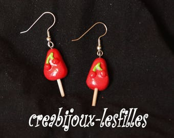 ears •glace •red. • Cherry, •bijoux• Christmas gifts Fimo•.boucles •kawaii