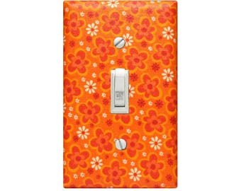 Retro Vintage Feel Pop Floral Fabric Light Switch Cover Decoupaged Switchplate Nursery Bedroom Living Room Kitchen Hippie Pop Wall Decor